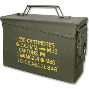 BOITE A OUTILS CAISSE A MUNITIONS CALIBRE 30 DE L'US ARMY EN META