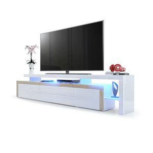MEUBLE TV Meuble tv  Chêne brut / Blanc laqué 227 cm avec le
