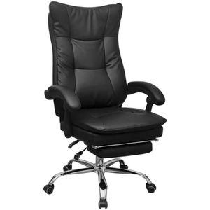 CHAISE DE BUREAU Chaise de bureau inclinable avec repose-pieds Noir
