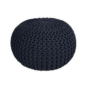 POUF - POIRE Pouf tricot 100% coton 30x40cm GOA - Bleu Nuit