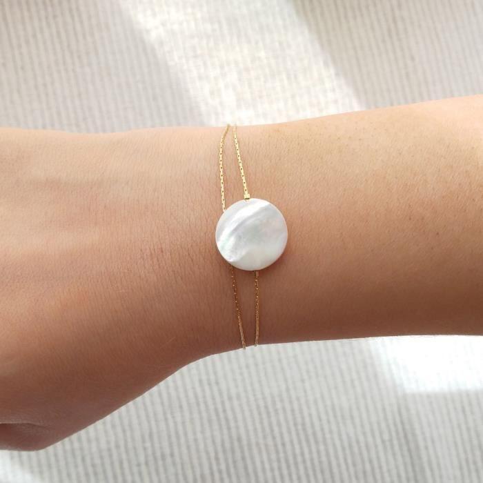 Disque nacre bracelet en or, bracelet cadeau de demoiselle d'honneur, bracelet en or de charme, bijoux de demoiselle d'honneur perle