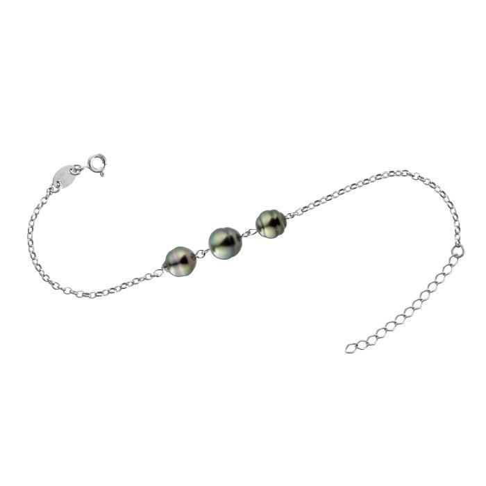 Bracelet Perle de Tahiti A. Chaîne forçat Argent