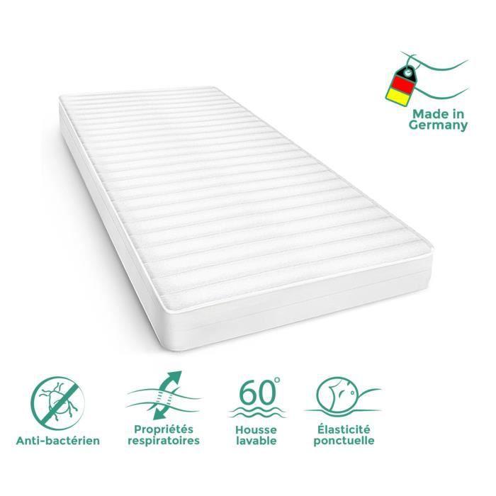 Matelas 140x190 cm microfibre, Matelas en mousse 7 Zones de confort - Matelas 140x190 hypoallergénique et sommeil optimal