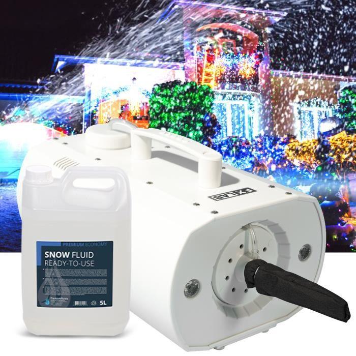 Machine à neige artificielle à LED pour Evenements, Décoration Noël - Capacité 550ml - 5L de liquide INCLUS - FXLAB G002GSS