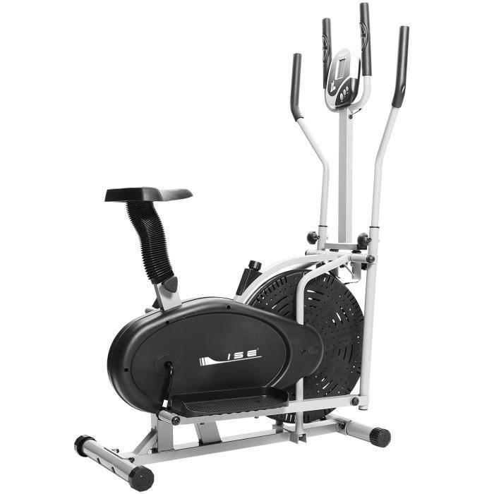 ISE 2 en 1 Vélo Elliptique Mixte Adulte avec Siège,Vélo d'appartement Trainer,Cross Trainer avec calories et distance Ecrans LCD