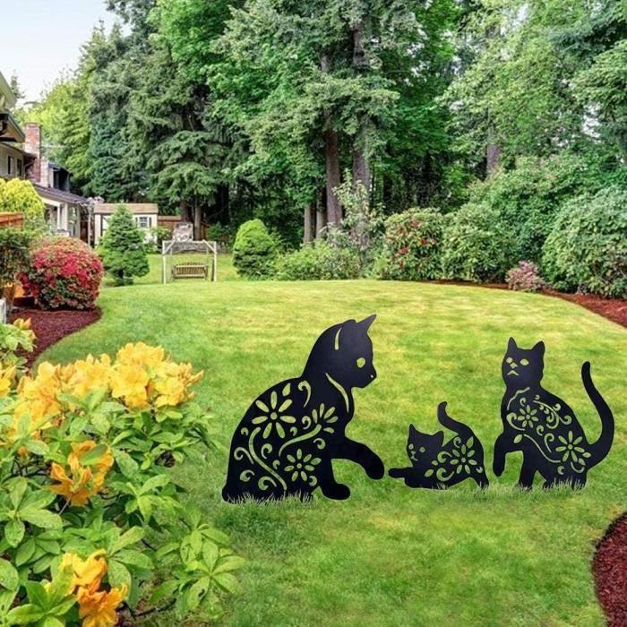 Décoration de Pelouse de Jardin, 3 Pièces Créatives Ornements de Silhouette de Chat en Métal, Statue Animale, Signe de Cour