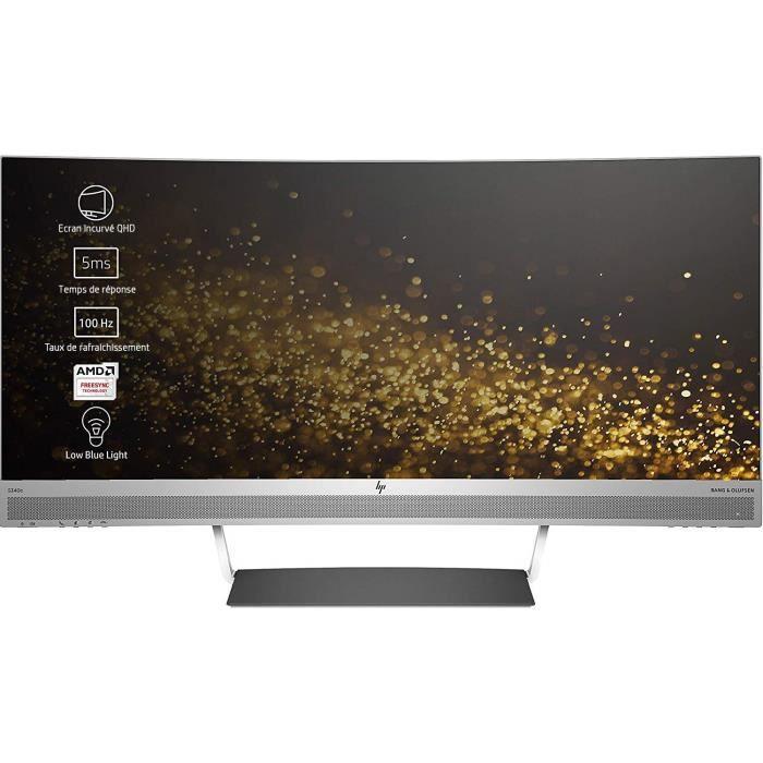 Écrans PC HP ENVY 34 Ecran PC incurvé WQHD 34- Argent-Noir (VA-LED, HDMI-DisplayPort-USB Type-C, 3440 x 1440, 21:9, 60 H 504