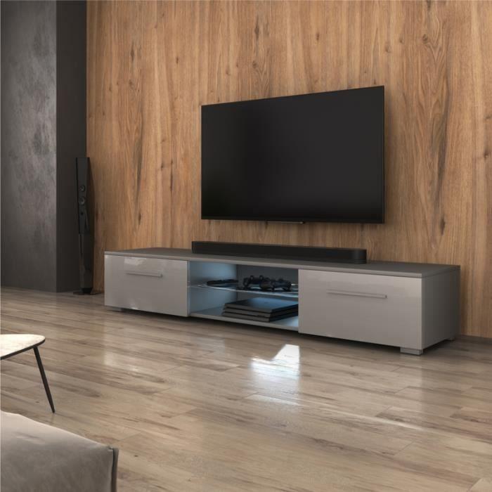 Meuble TV / Meuble salon - SYVIS - 140 cm - gris mat / gris brillant - avec LED - style moderne