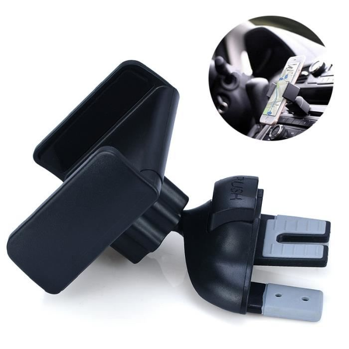 Universel 1pc voiture Van CD Slot Smart téléphone Mobile Rotation support support support ABS + TPE Support universel pour voiture