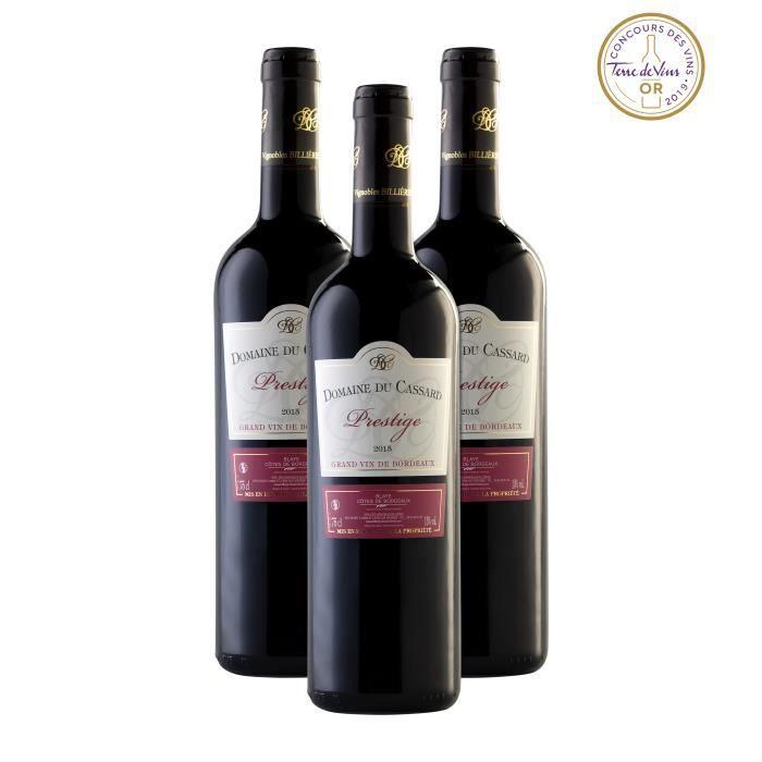 Lot de 3 bouteilles Vin Rouge Blaye Côtes de Bordeaux Domaine du Cassard - Cuvée Prestige - Médaille d'Or au Concours Terre de Vin