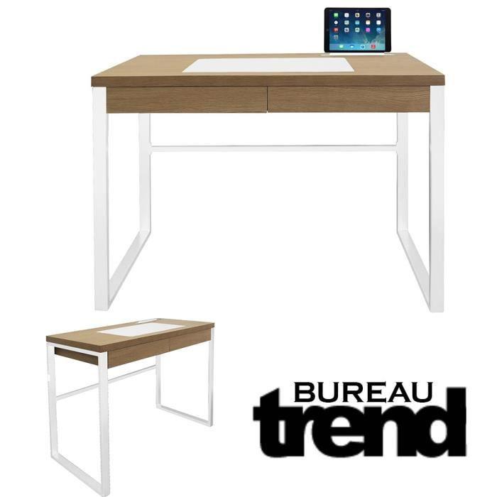 Bureau industriel Trend bois et metal blanc Blanc