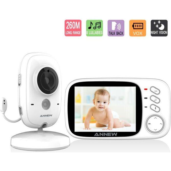 ANNEW Bébé Moniteur Babyphone avec Caméra Vidéo Moniteur Audio Capteur de Température Vision Nocturne Berceuse Entretien Bidirection