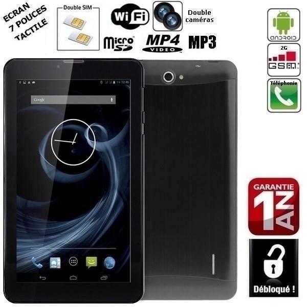 Téléphone 2G noir Tablette HSD7035 Android 4.2.2, GPS, 2 SIM