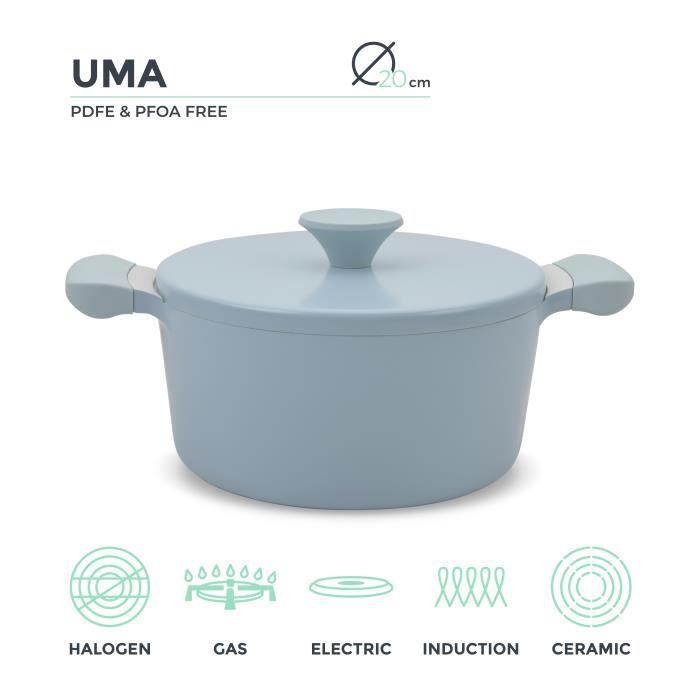 Casserole Cocotte D20cm en fonte d'aluminium et poignées en bakélite UMA IKOHS Capacité 2.7L Revêtement anti-adhésif