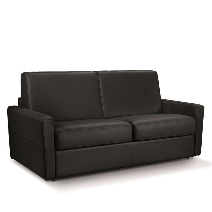 Canapé convertible rapido SKYWEST 140 cm sommier métallique matelas 15 cm cuir Noir noir cuir Inside75