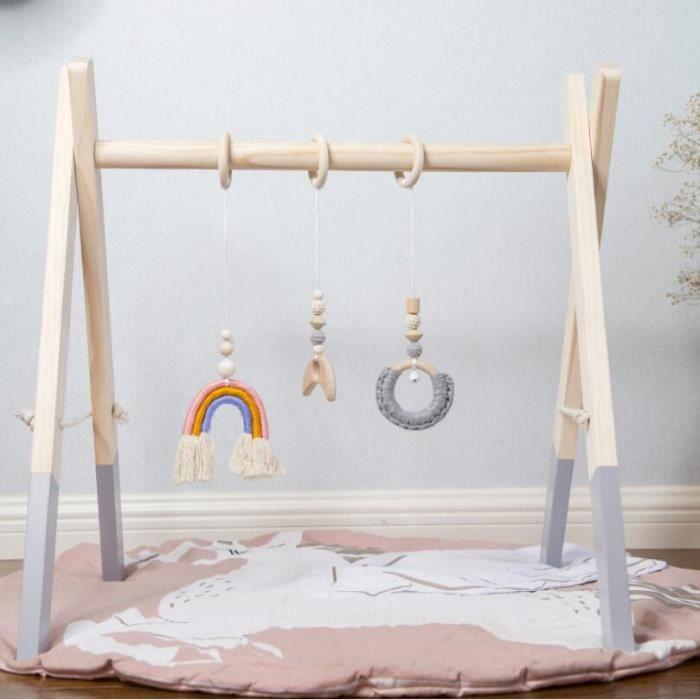 Bébé Portique d'Éveil en Bois, Gym d'activite Centre Arc-en-Ciel avec 3pcs Pendentifs pour Nouveau-né