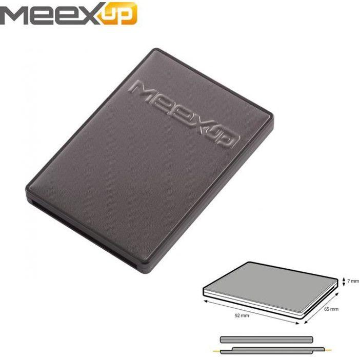 Etui 2 Cartes MeexUp RFID - Porte Carte Rigide anti piratage CB Noir Anthracite