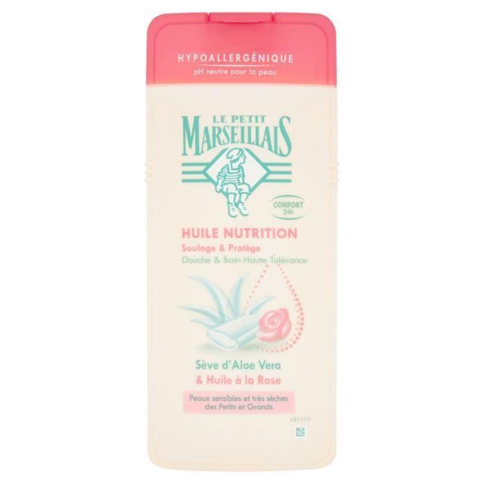 LOT DE 4 - LE PETIT MARSEILLAIS HUILE NUTRITION HYPOALLERGENIQUE ALOE VERA & HUILE A LA ROSE 650ML