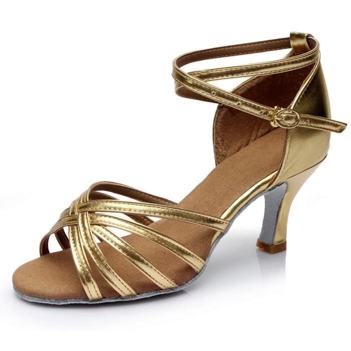 Femmes mode danse rumba valse bal salle de bal latine salsa danse sandales chaussures Or