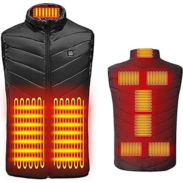 Vest Chauffante Electrique Intelligent Hiver Gilet Batterie Thermique Manteau pour Activités de Plein Air Chasse Randonnée006