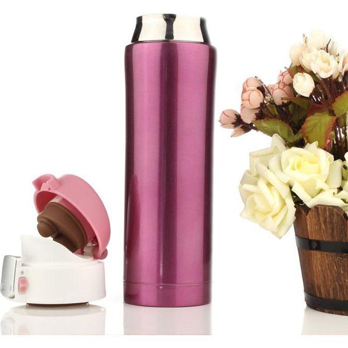 TEMPSA 500ml Thermos de the, Mug isotherme d'acier inoxydable, tasse cafe, bouteille d'eau 12 heures Rose 500ML