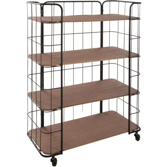 etagere meuble de rangement 4 etages sur roulettes noir et bois noir