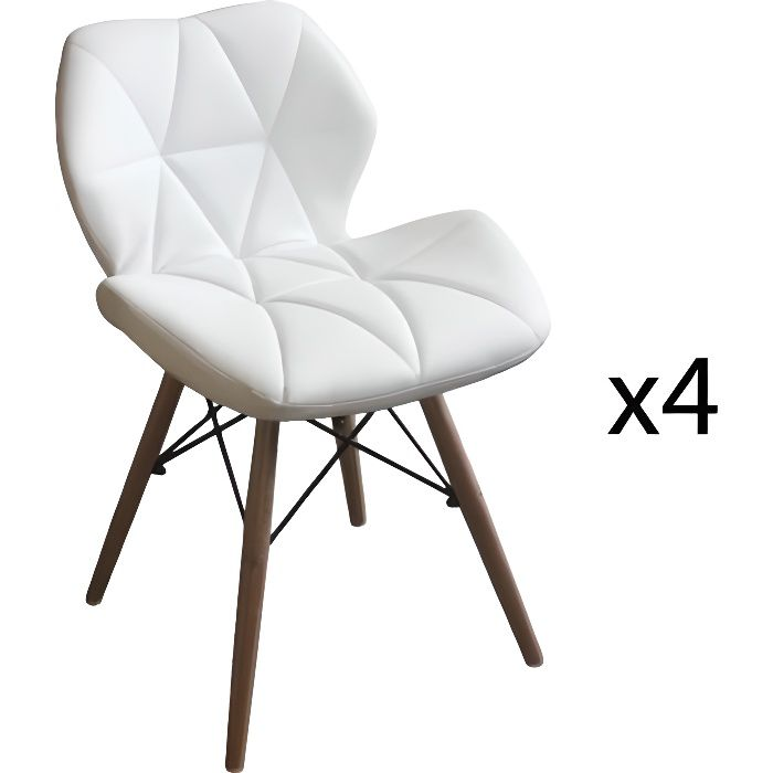 lot de 4 chaises blanche scandinave pieds en bois achat. Black Bedroom Furniture Sets. Home Design Ideas