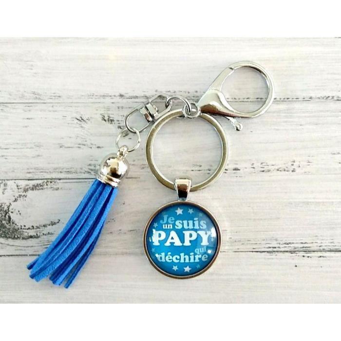 Porte clefs papy homme personnalisé papy, papi, fête des grands