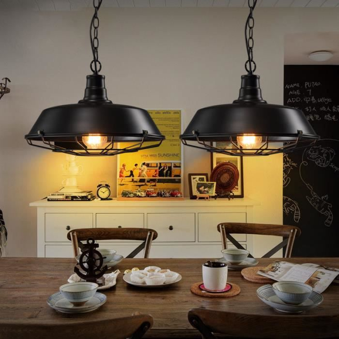 suspension r tro vintage lustre plafonnier lampe luminaire industriel noir achat vente. Black Bedroom Furniture Sets. Home Design Ideas