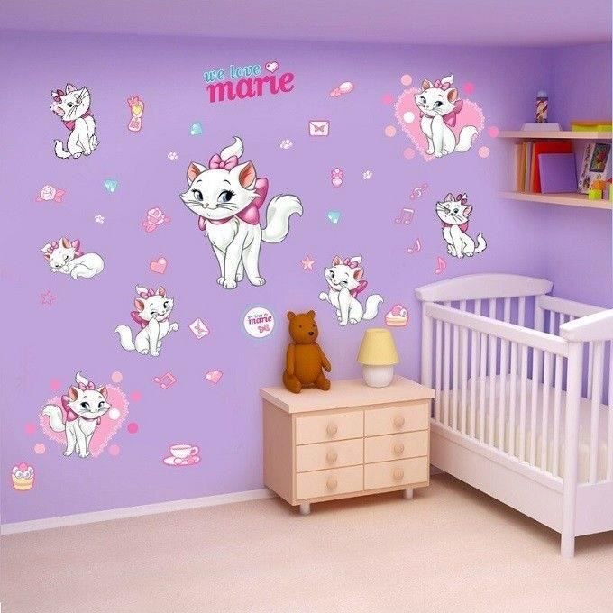decoration sticker mural chat marie aristochats achat vente stickers soldes cdiscount. Black Bedroom Furniture Sets. Home Design Ideas