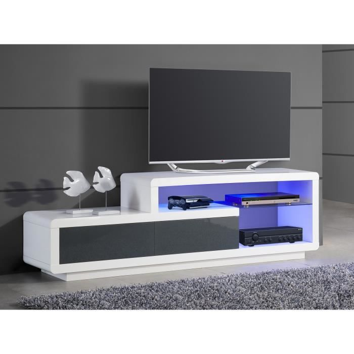 meuble tv de rangement lumineux coloris blanc et gris. Black Bedroom Furniture Sets. Home Design Ideas