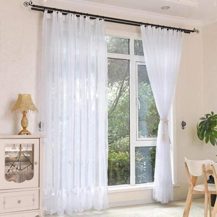 Deconovo Lot de 2 Rideau Voilage Blanc Transparent en Effet Lin Rideaux Brod/éPasse Tringle avec Motif Geometrique 132x160cm pour Decoration Chambre Bebe