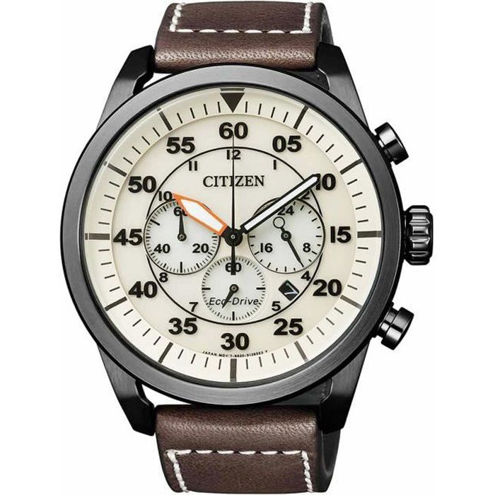3e1a0c2207 Montre Citizen Aviator Chrono CA4215-04W Eco-Drive - Marron et Beige ...