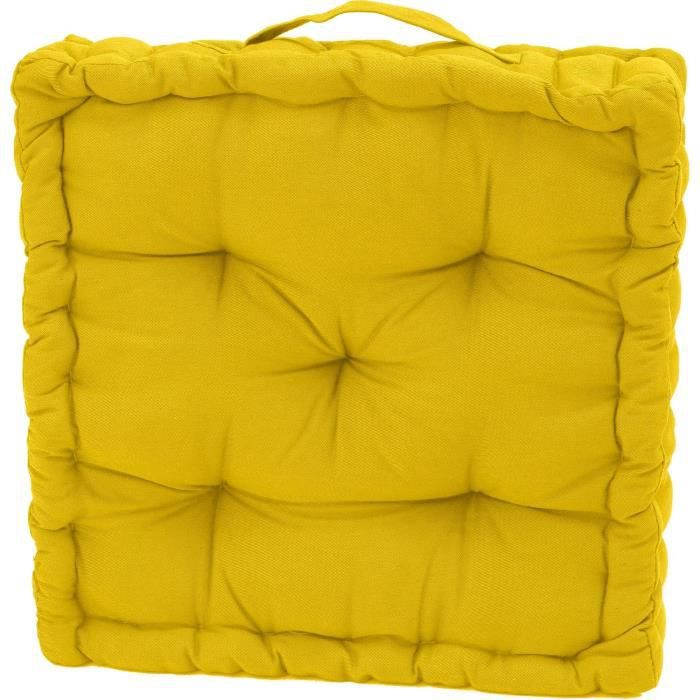 serge coussin de sol jaune 40x40x10 achat vente coussin cdiscount. Black Bedroom Furniture Sets. Home Design Ideas