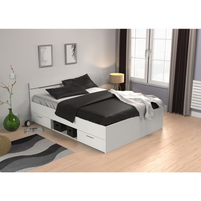 lit tiroirs blanc perle 140x200 achat vente lit complet lit tiroirs blanc perle 140 cdiscount. Black Bedroom Furniture Sets. Home Design Ideas