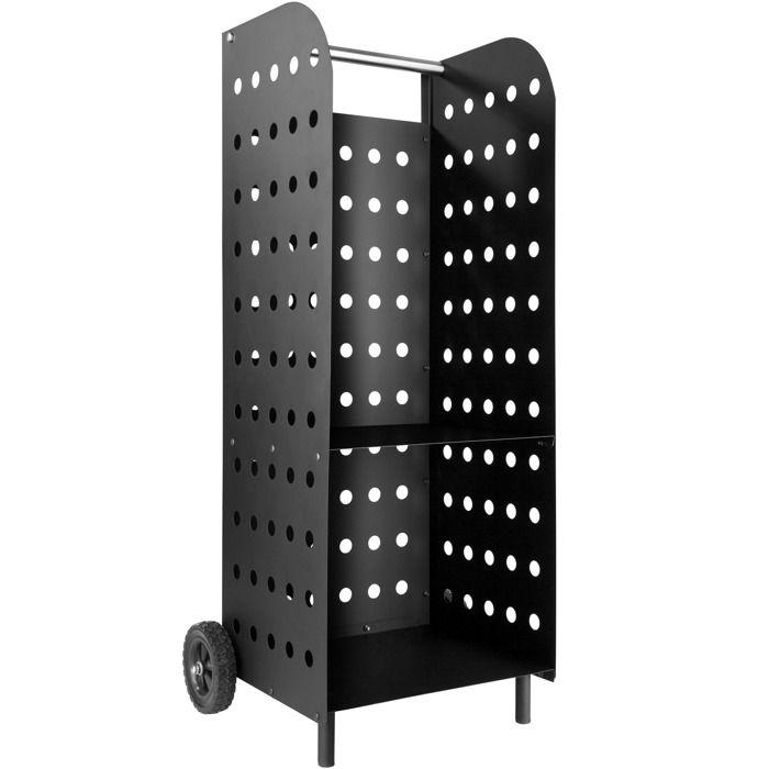 PANIER PORTE BUCHES TECTAKE Porte bûche sur roulettes 55 cm x 45 cm x