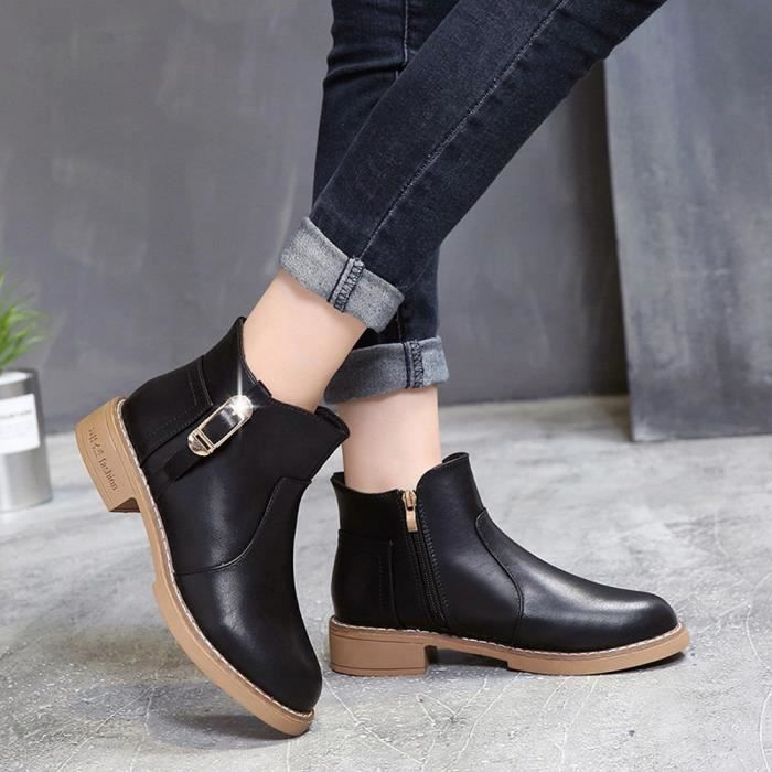 Toe À Femmes Carré Martain Talon Plus Shoes Velours Chaussures Cuir Zipper Botte Ronde En yunsoel24 qqB4w7p1W