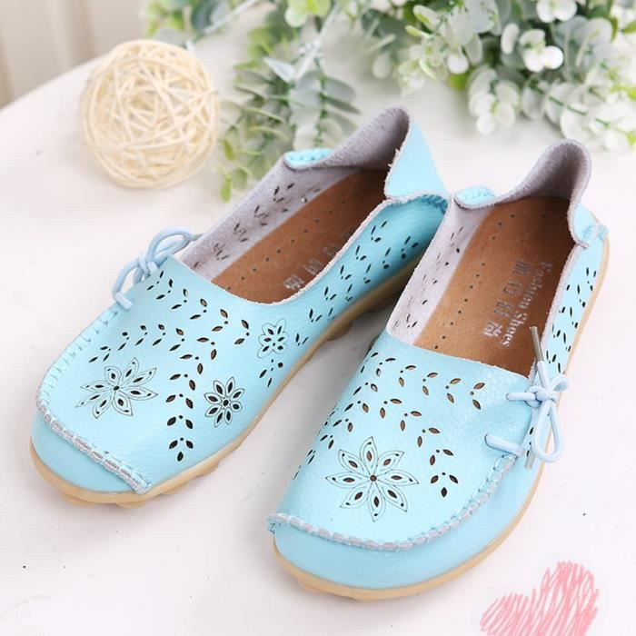 Women' S Leather Loafers Casual Moccasin Driving Outdoor Shoes Indoor Flat Slip-on Slippers HBNBW Taille-40