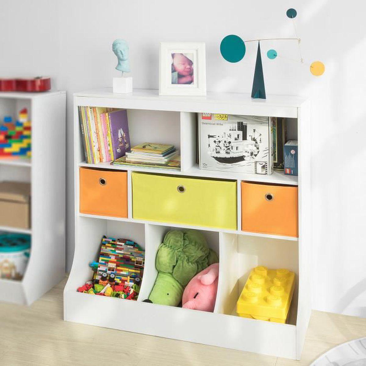 Meuble De Rangement Pour Garderie sobuy® kmb26-w bibliothèque meuble de rangement pour livres et jouets  Étagère enfant Étagère à livres Étagère de rangement