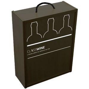 TIRE-BOUCHON Caisse bois noire - Pour 3 bouteilles format Borde