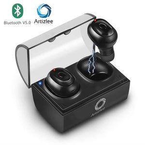 CASQUE AVEC MICROPHONE Ecouteur Bluetooth - Artizlee® Oreillettes Bluetoo