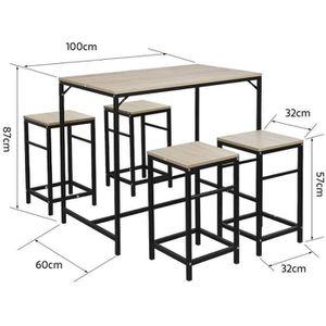 TABLE À MANGER COMPLÈTE Ensemble table de bar bistrot avec 4 chaises haute