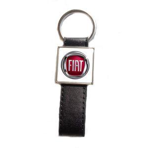 Fond Noir Porte-clés Acier//Simili Cuir logo FIAT