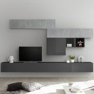 MEUBLE TV Ensemble meuble tele gris laqué et gris béton GALA