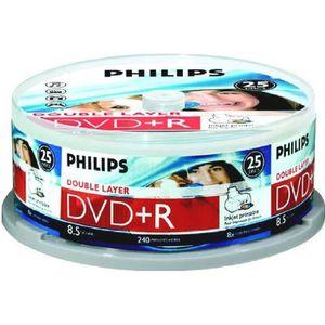 CD - DVD VIERGE 25 DVD+R Double Couche vierge Philips 8x 8.5Go Imp
