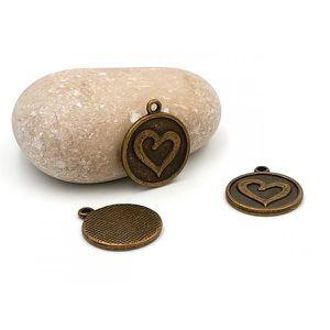 Perles 20 Breloques Bronze Coeur Gravé 21x18mm