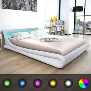 STRUCTURE DE LIT Economique Haute qualité Cadre de lit avec LED 160