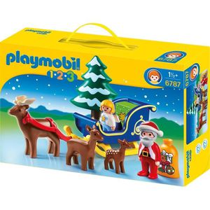 UNIVERS MINIATURE PLAYMOBIL 1.2.3. 6787 Père Noël Angelot Traineau