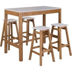 MANGE-DEBOUT Table haute rectangulaire Blanc et Bois - GUZMAN -