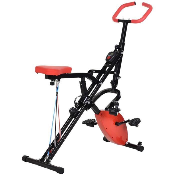 Homcom Vélo d'appartement Body Trainer 2 en 1 Pliable écran LCD 8 niv. de résistance Acier ABS PVC Rouge Noir